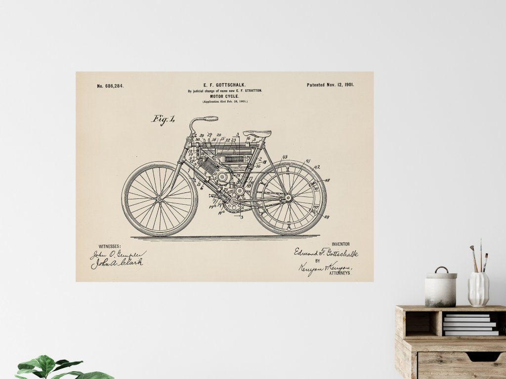 patent motor cycle plakat