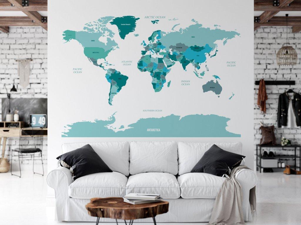 samolepici mapa sveta samolepka na zed modra