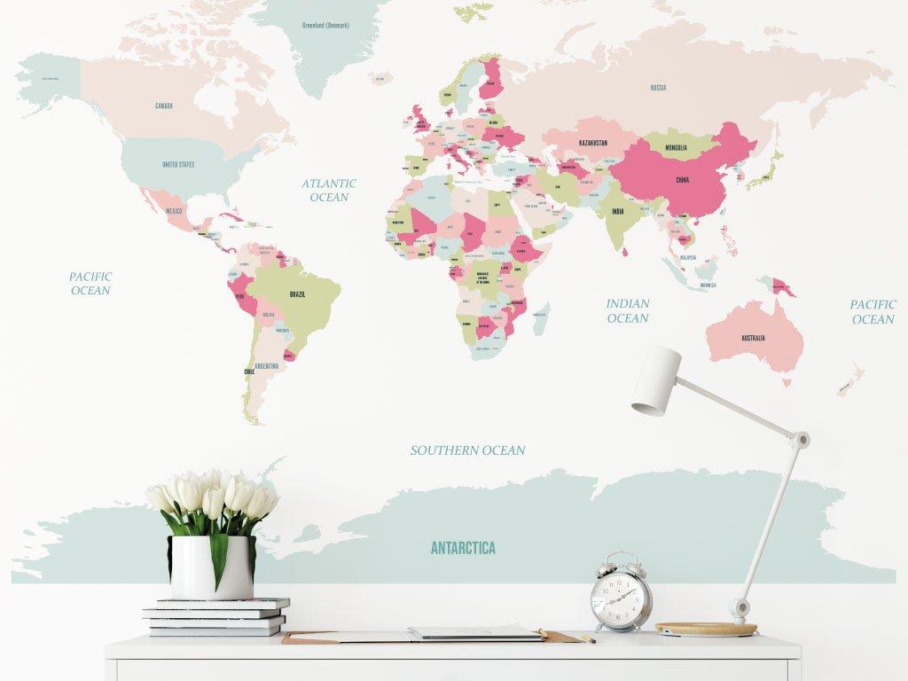 mapa sveta samolepka na zed ruzova detail
