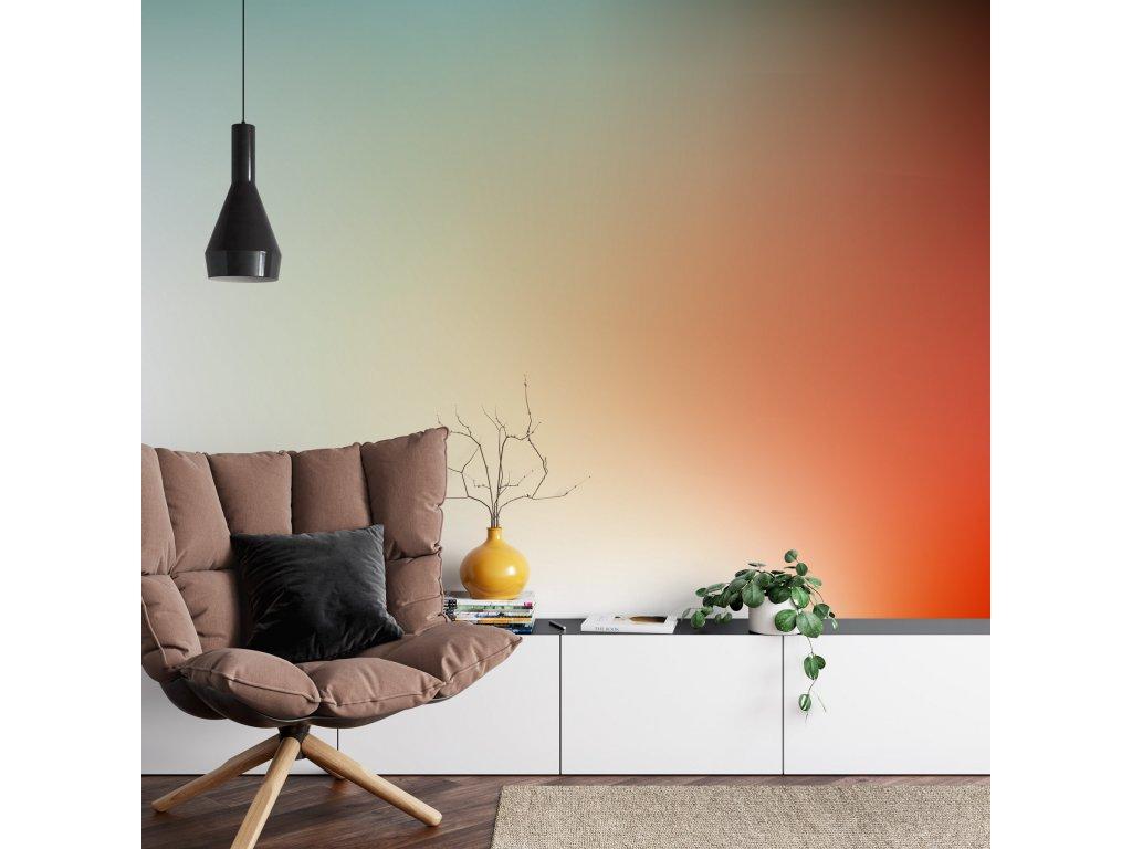 tapeta barevny ptechod ruda tyrkys hneda interier