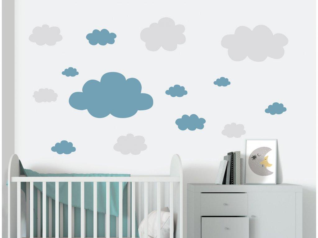 mracky samolepky na zed detail modrá detsky pokoj