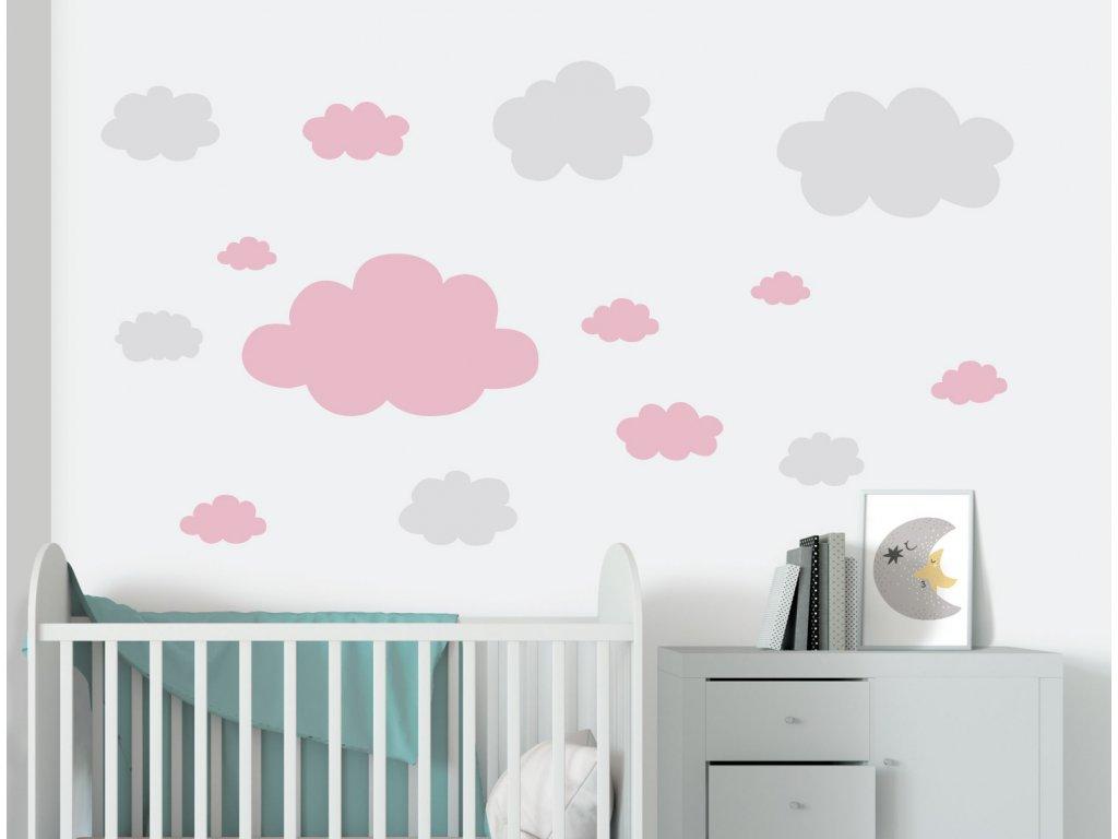 mracky samolepky na zed ruzova v detskem pokoji