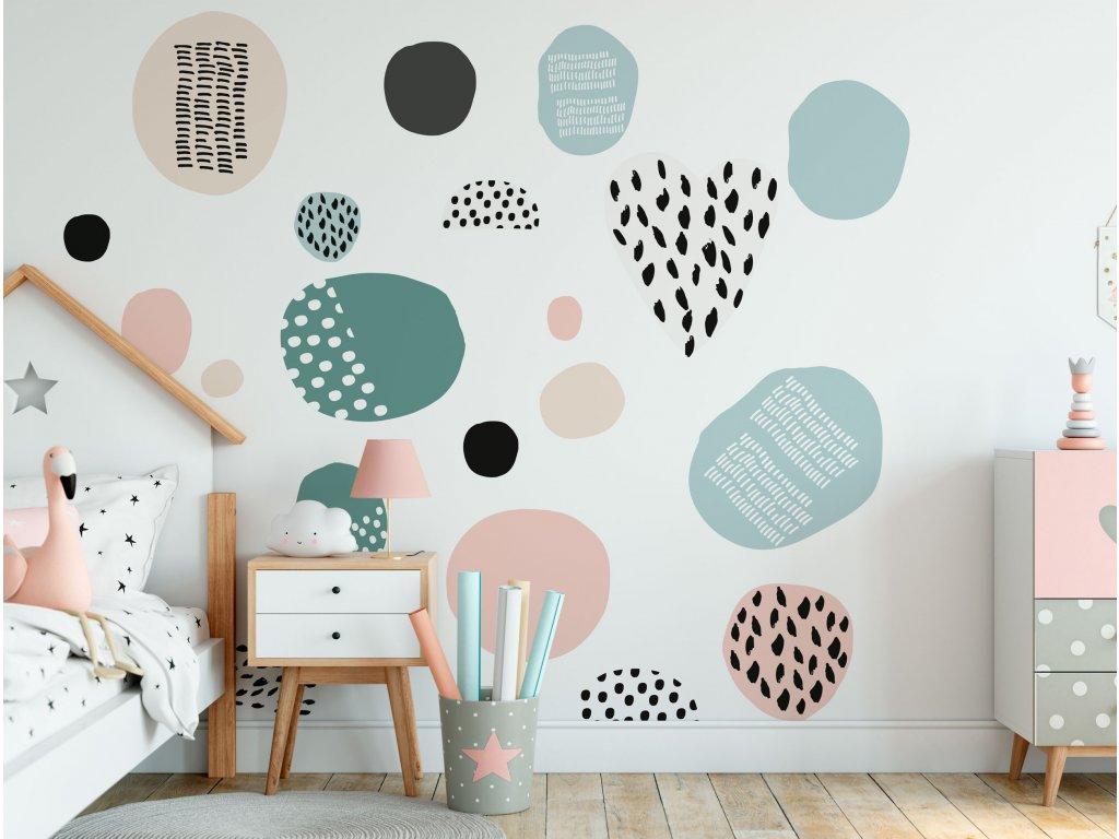 prelepovaci samolepky na zed abstrakt kids pink