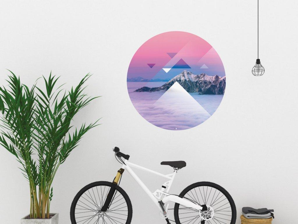 designova samolepka na zed triangle mountains interier