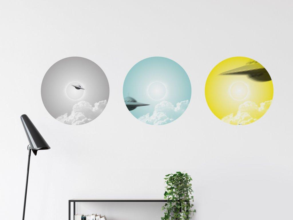 designove samolepky kruhy na zed ufo interier