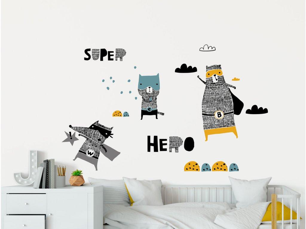 super hrdinove samolepky na zed pro deti fugu