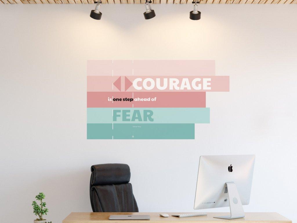 citat do kancelare samolepici plakat courage v01 interier ruzova