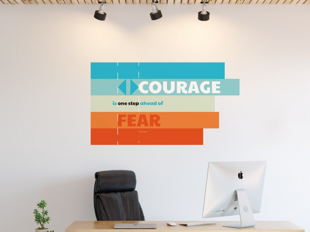 citat do kancelare samolepici plakat courage v01 oranzova interier