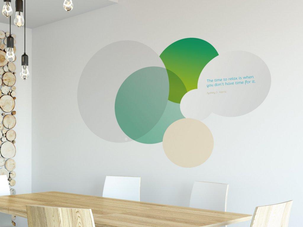 samolepici citat na zed time to relax v02 zelena interier