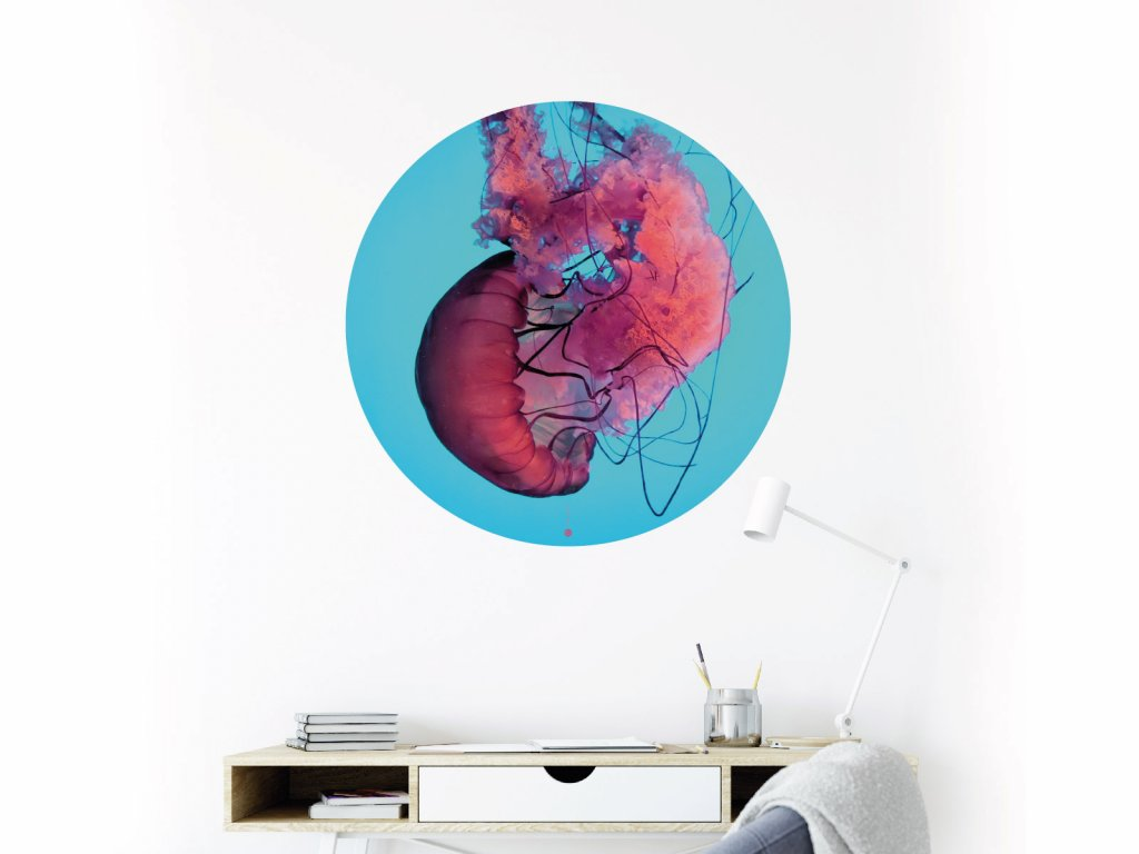 meduza kvet samolepka na zed kruh interier