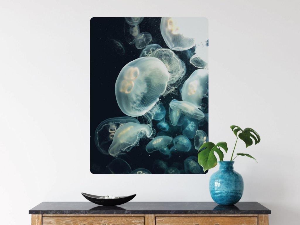 meduzy ve tme samolepici plakat interier