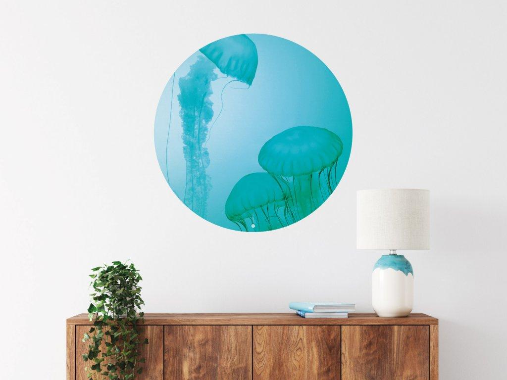 meduzy zasnene samolepka na zed kruh interier