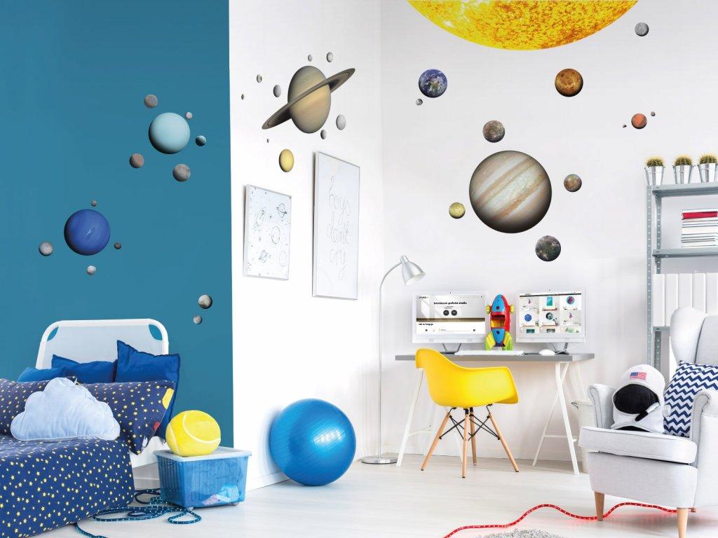 samolepky na zed planety mesice premistovaci s popisky interier