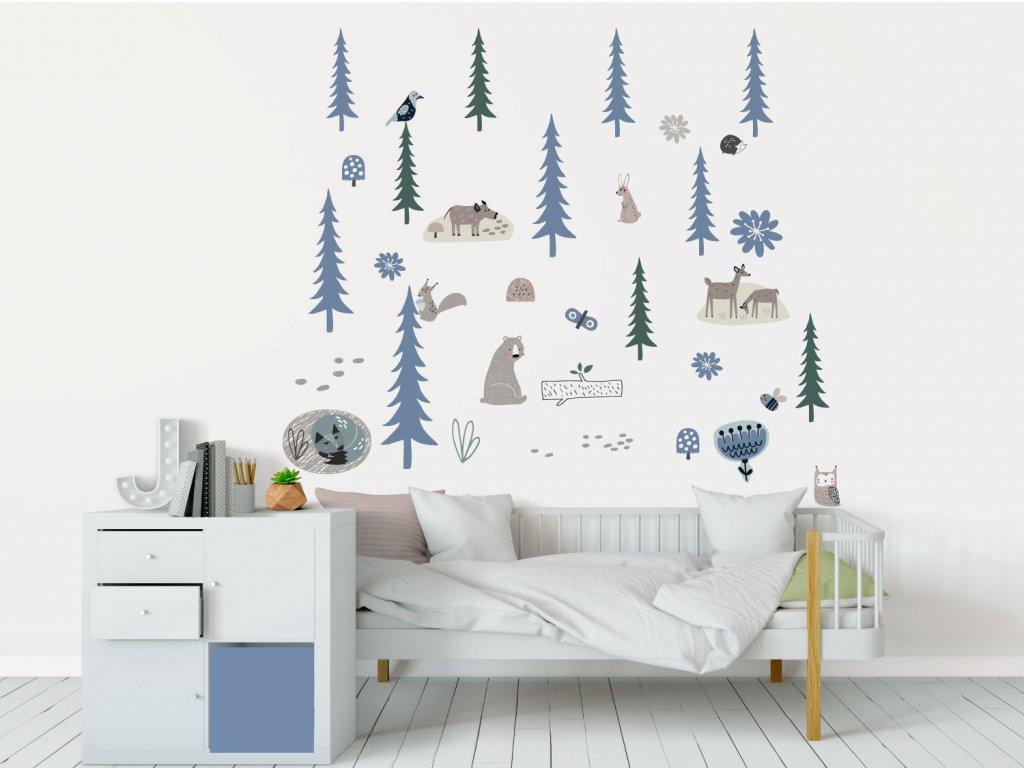 les smrkovy textilni samolepky na zed blue