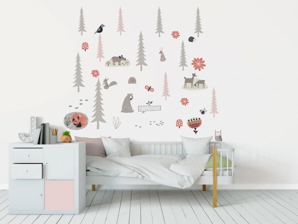 les smrkovy textilni samolepky na zed pink