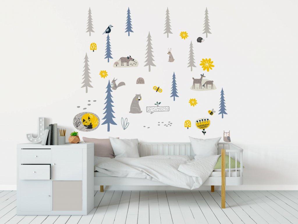 les smrkovy samolepky na zed textilni yellow