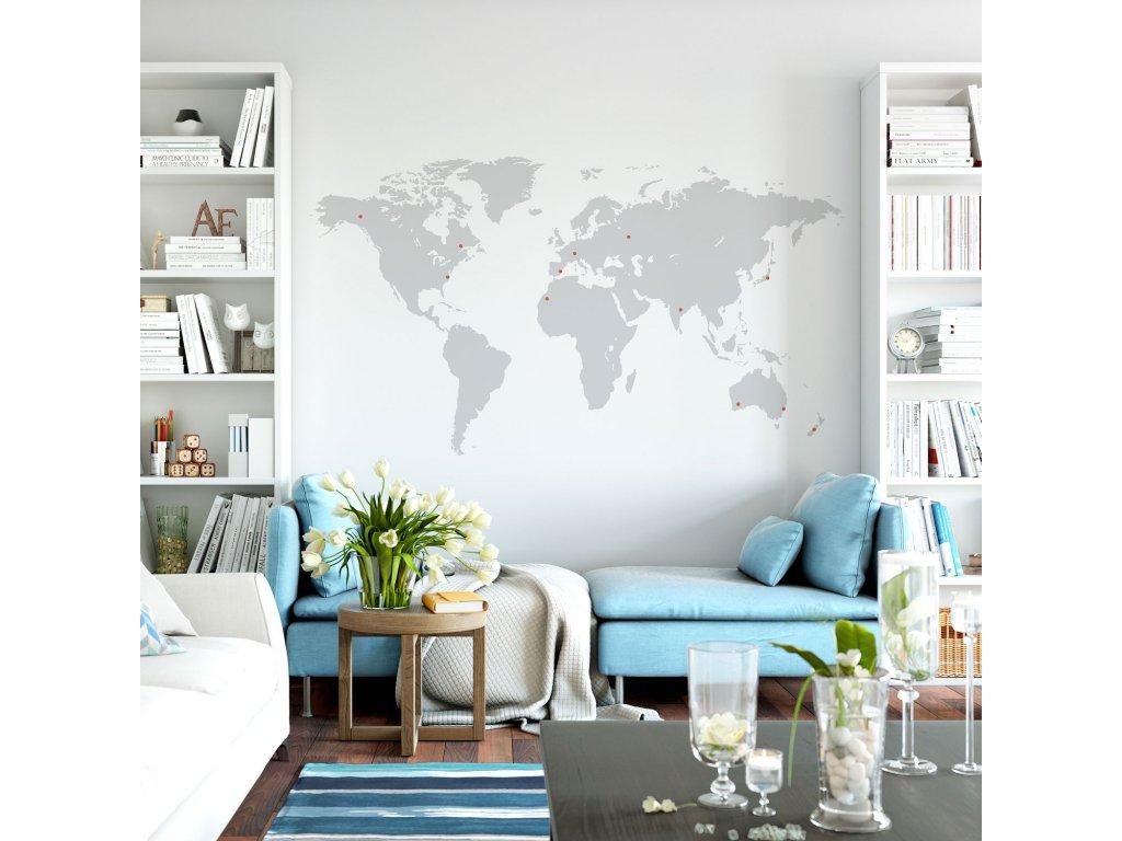 mapa sveta nejen pro cestovatele samolepka na zed s oznacenim misty