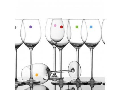 samolepici party puntiky na sklenickach od vina