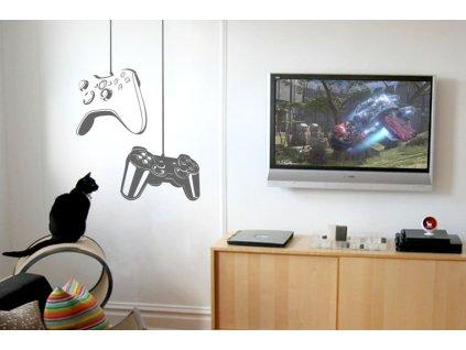 samolepky na zed herni konzole game on v pokoji s kockou