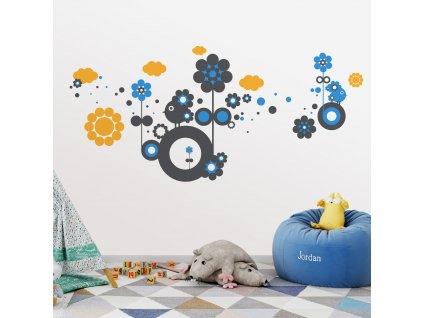 flower planet designovy motiv s kvety a mracky v detskem pokoji