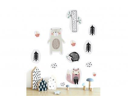 premistitelne samolepky na zed v lese na stene v interieru