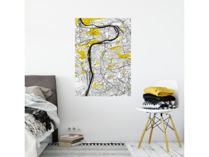 samolepici plakat stylizovana mapa prahy od fugu