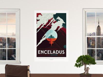 premistitelny samolepici plakat ekologicky mesic enceladus