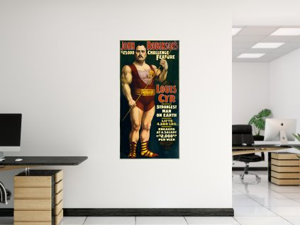 samolepici retro plakat louis cyr nejsilnejsi muz na svete
