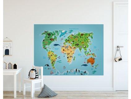 detska samolepici mapa sveta se zviraty