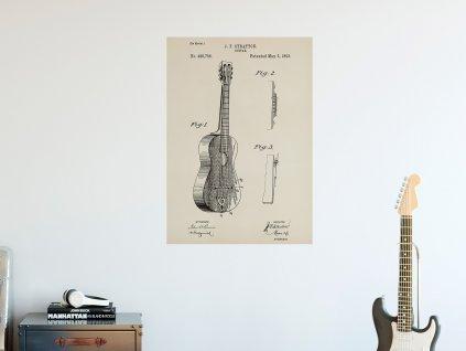 samolepici plakat patent akusticka kytara