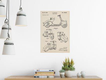 samolepici plakat vespa patent
