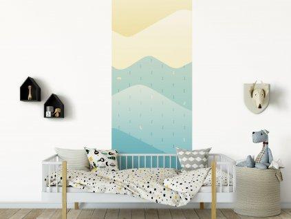 ekologicka samolepici dekorace na zed pruh hory ve finsku