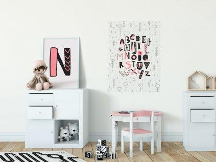 samolepici dekorace zed prelepovaci plakat abeceda ruzova