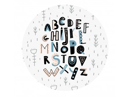 samolepka abeceda nalepovaci kruh modra detail