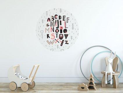 samolepici dekorace zed prelepovaci plakat abeceda ruzovak