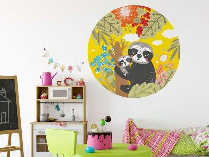 mami a mimi lenochod samolepici kruh do detskeho pokoje