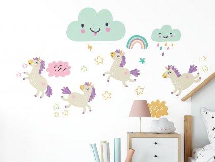 detske samolepky na zed unicorns jednorozci detail