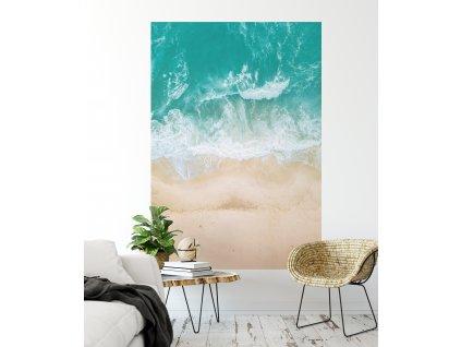 samolepici eko tapeta vlny na plazi pruh new