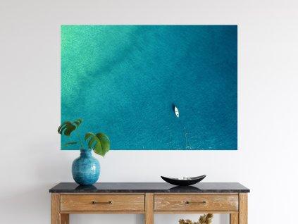 tisk na zed ocean lonely boat
