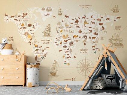 tapeta mapa sveta na zed pro deti samolepici