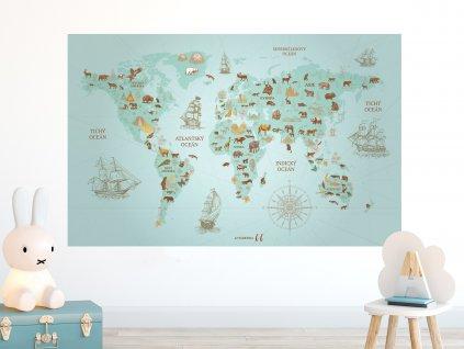 objevitelska mapa sveta vintage na zed TYRKYSOVA