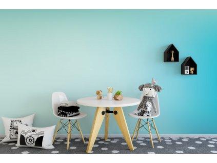 detska tapeta barevny prechod tyrkysova modra interier