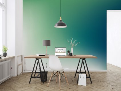 tapeta barevny ptechod modra zelena interier