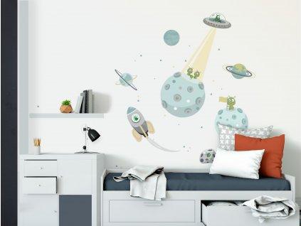 vesmir a planety samolepky do detskeho pokoje