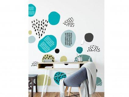prelepovaci samolepky na zed abstrakt kids blue