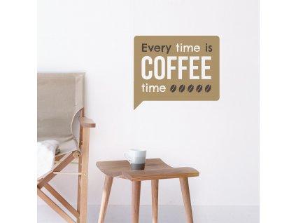 vtipna textova samolepka na zed na tema kavy nad stolkem s kavou
