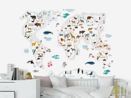 detska mapa sveta se zviraty na zed bila barva
