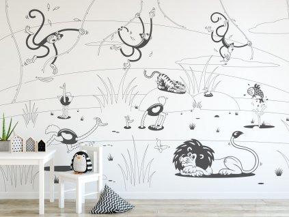 vybarvovaci tapeta kreslena zvirata dzungle interier