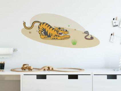prelepovaci samolepka na zed tygr a had interier