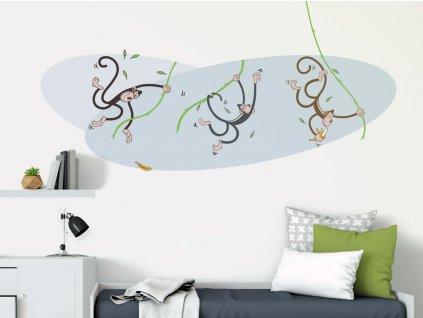 velka textilni samolepka na zed opicky na lianach interier